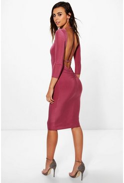 Petite Eva Plunge Back Strap Detail Bodycon Dress