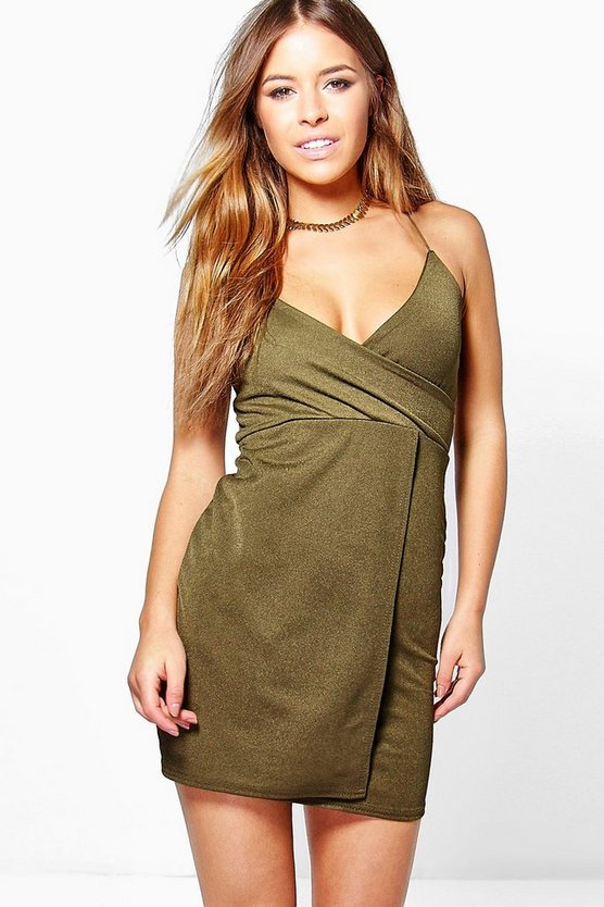 Petite Leanna Strappy Wrap Detail Bodycon Dress