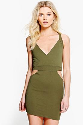 Petite Suzie Cross Front Cut Out Bodycon Dress