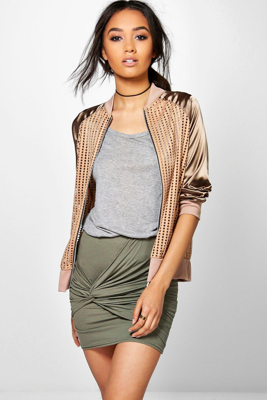 Laura Knot Front Mini Skirt  khaki