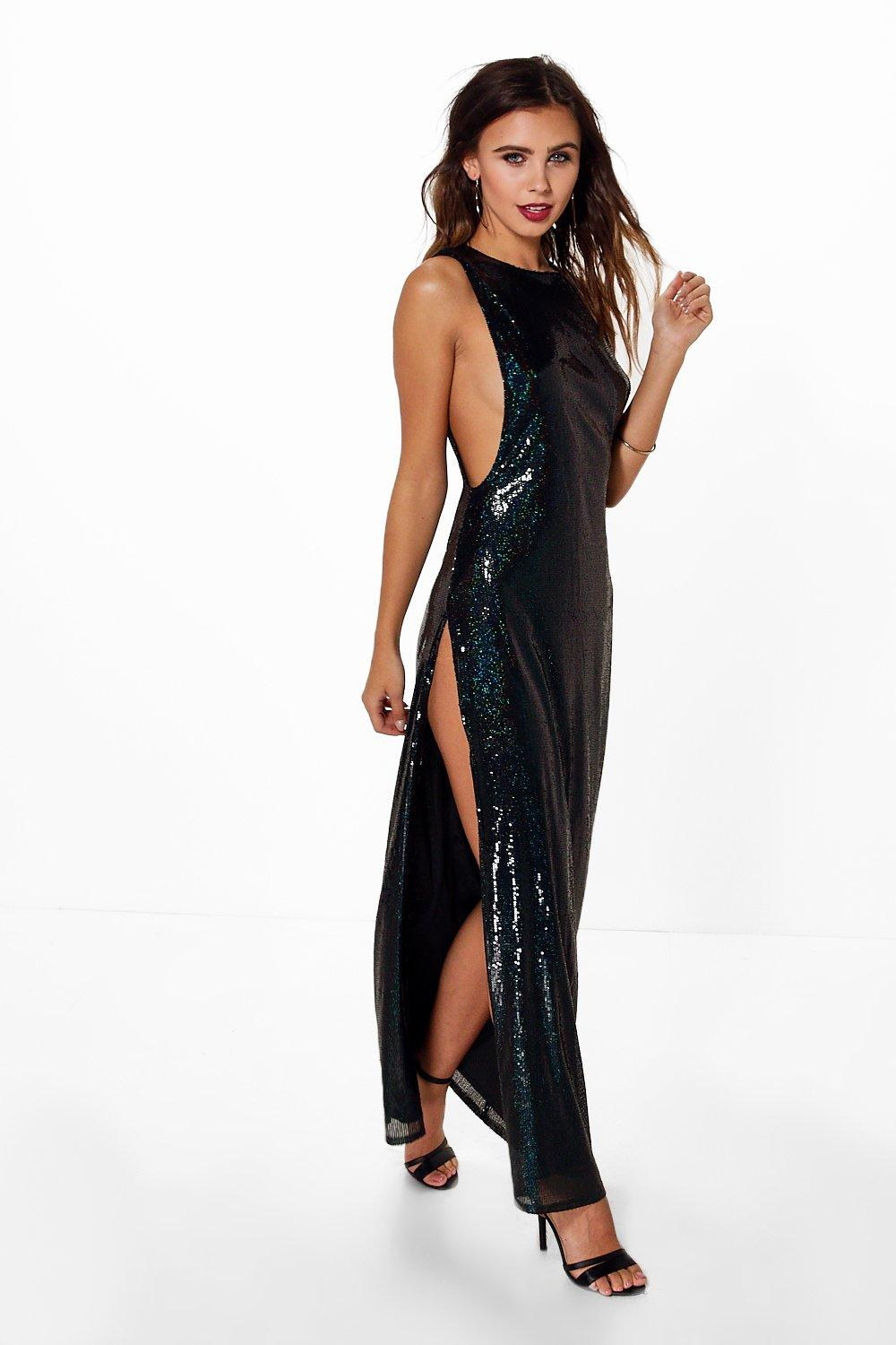 Petite Julia Drop Armhole Sequin Maxi Dress