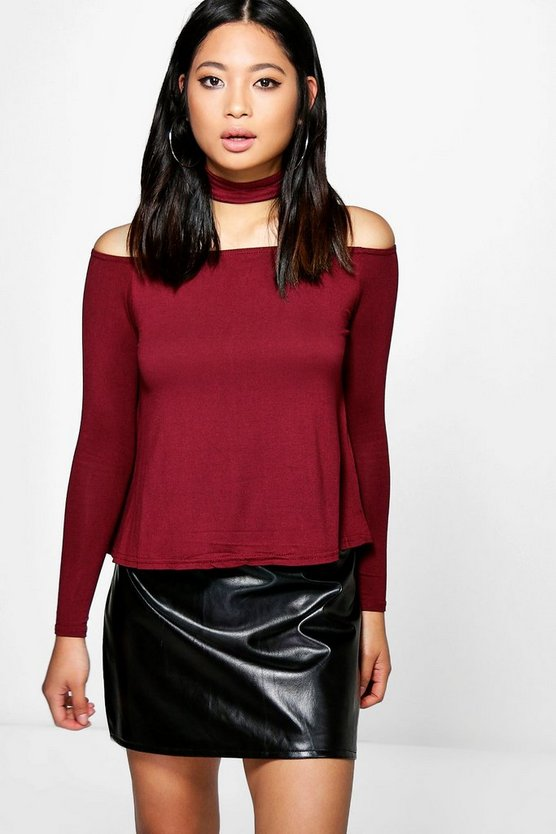 Petite Lisa Off The Shoulder Choker Detail Top