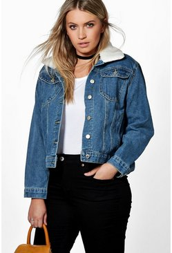 Plus Miranda Borg Collar Denim Jacket