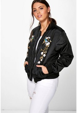 Plus Mel Floral Bird Embroidered Bomber Jacket