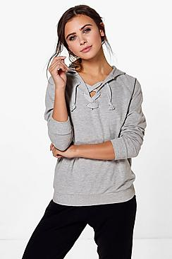 Petite Frances Lace Up Hooded Sweat