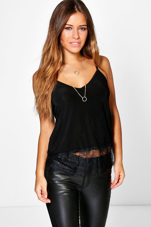 Clairey Lace Trim Strappy Cami - black