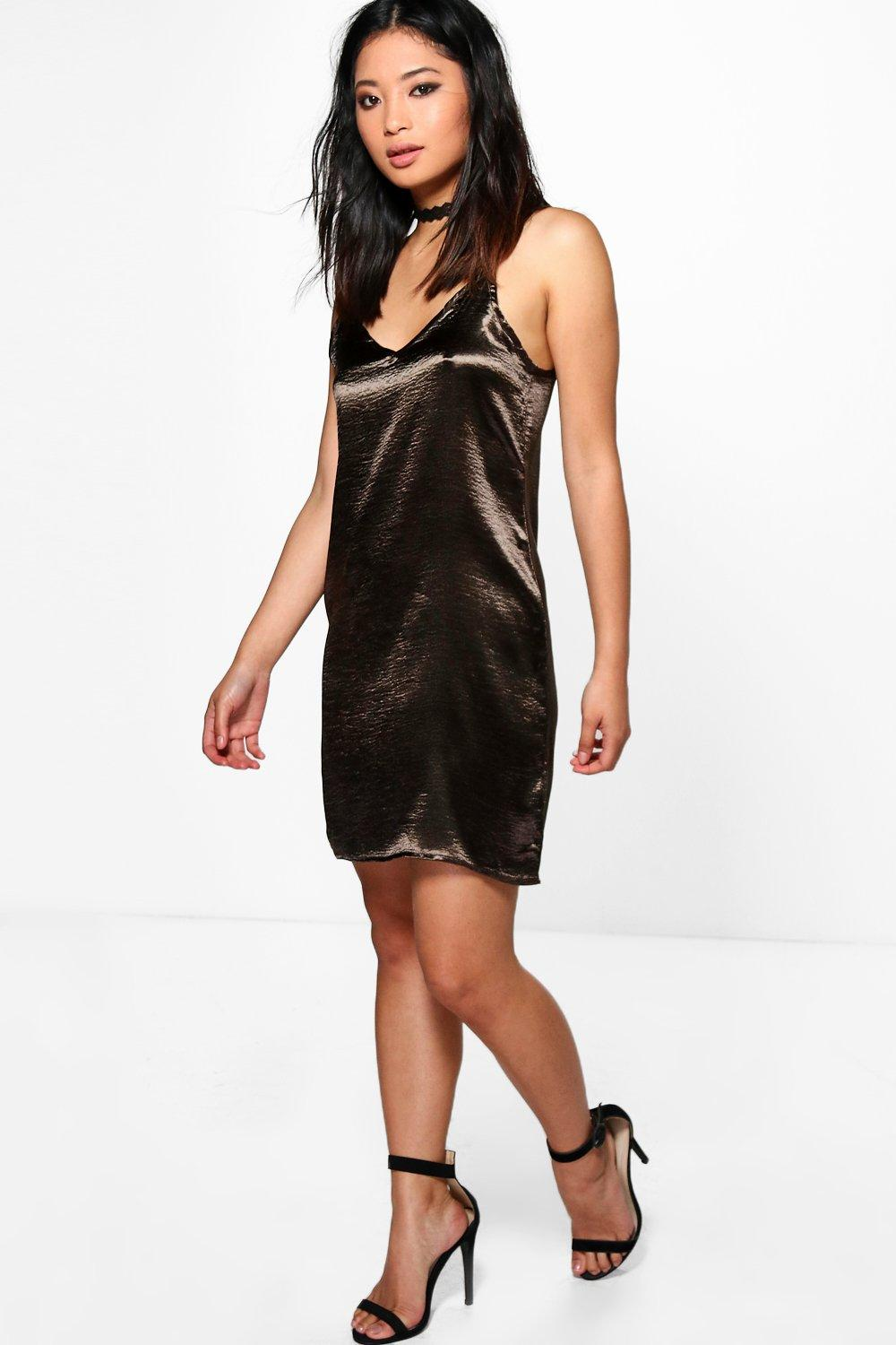 Petite Lola Satin Strappy Slip Dress
