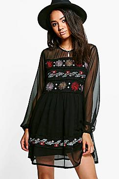Petite Eden Embroidered Mesh Sleeve Skater Dress