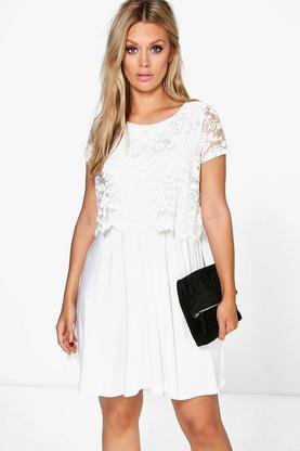 Plus Amanda Lace Overlay Skater Dress