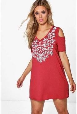 Plus Ivy V Neck Cold Shoulder Print Swing Dress