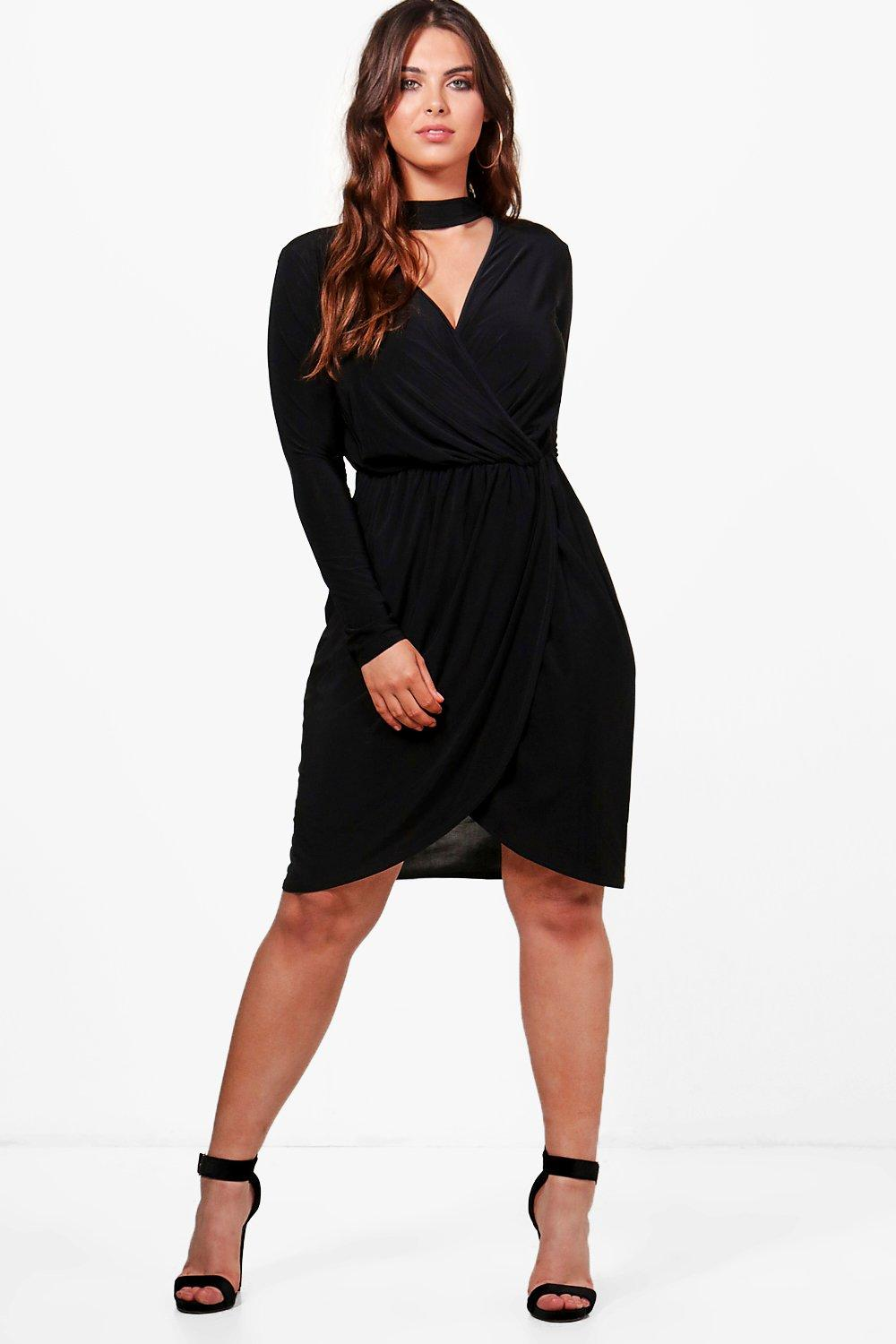 Plus Olivia Choker Detail Wrap Dress
