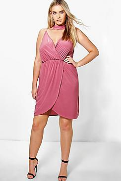 Plus Teresa Sleeveless Wrap Choker Dress
