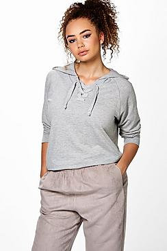 Plus Tammy Lace Up Hooded Sweat