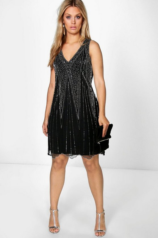 Plus Rosa Sequin V Neck Shift Dress
