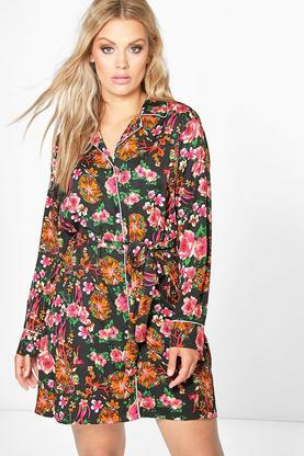 Plus Tara Printed Piping Shirt Dress