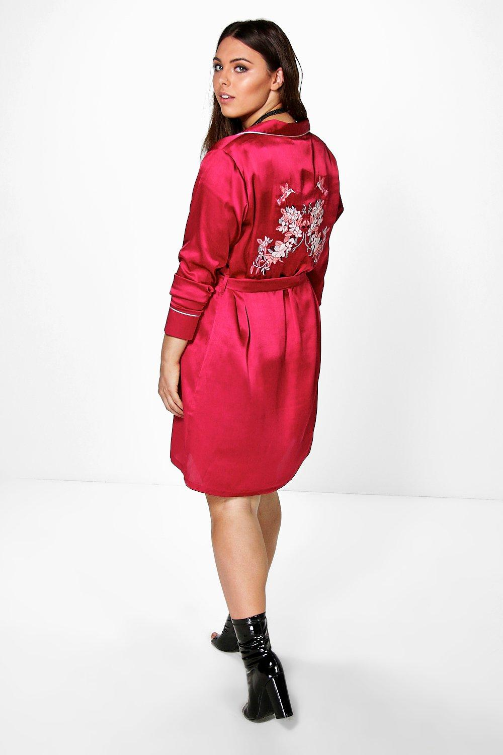 Plus Shauna Embroidered Back Shirt Dress