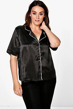 Plus Kara Piping PJ Shirt