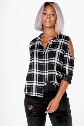Plus Frankie Check Open Shoulder Shirt