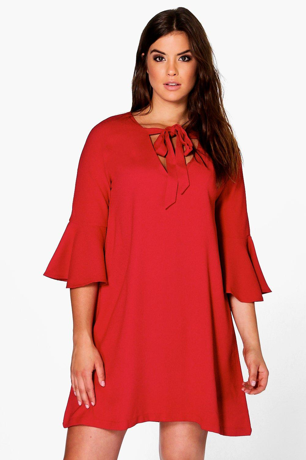 Plus Kimmy Tie Front Flute Sleeve Shift Dress