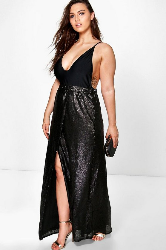 Plus Isabella Wrap Sequin Maxi Skirt