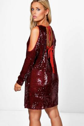 Plus Riley Cold Shoulder Sequin Dress