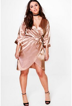 Plus Julia Satin Wrap Dress