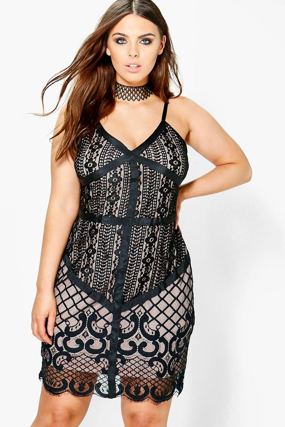 Plus Lexi Lace Panel Bodycon Dress