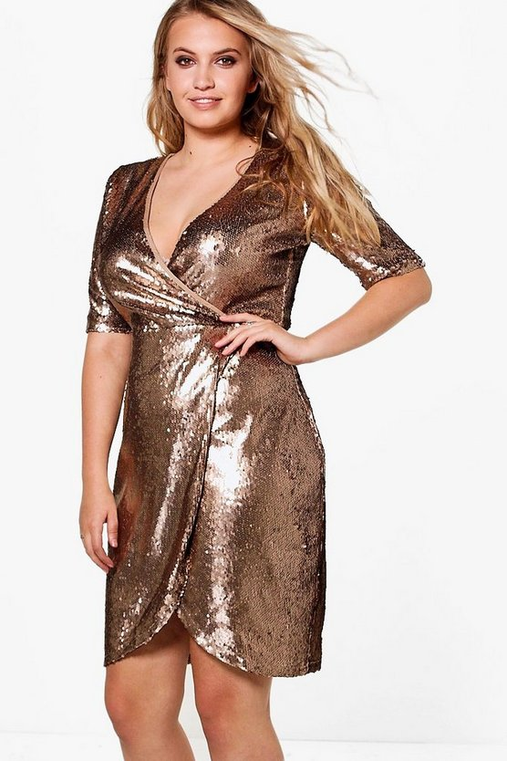 Plus Grace Wrap 3/4 Sleeve Sequin Dress