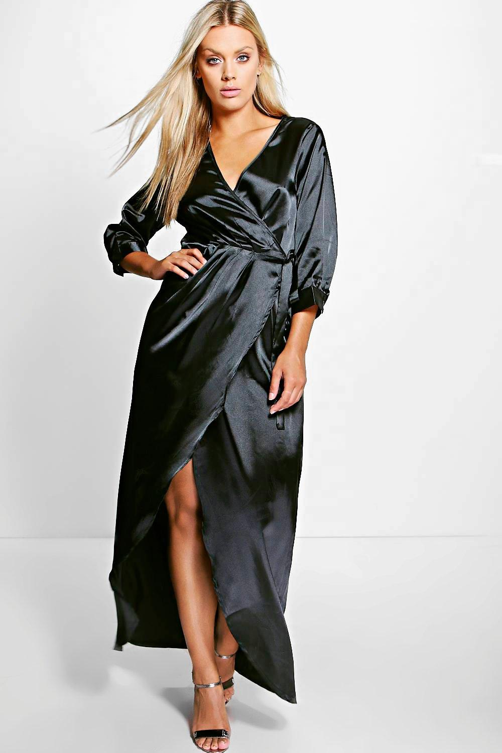 Plus Rose Plunge Satin Maxi Dress