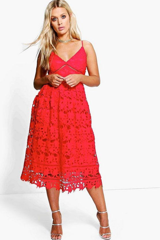Plus Leila Applique V Neck Lace Skater Dress