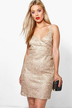 Plus Tia Lace + Sequin Wrap Top Bodycon Dress