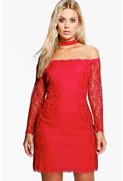 Plus Anna Bardot Lace Choker Bodycon Dress