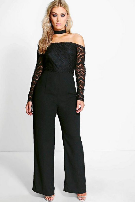 Plus Sofia Off The Shoulder Choker Jumpsuit