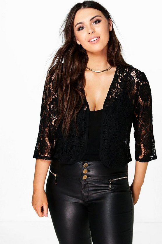 Plus Caroline Crop Lace Jacket
