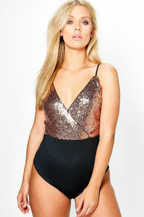 Plus Claudia Wrap Sequin Bodysuit