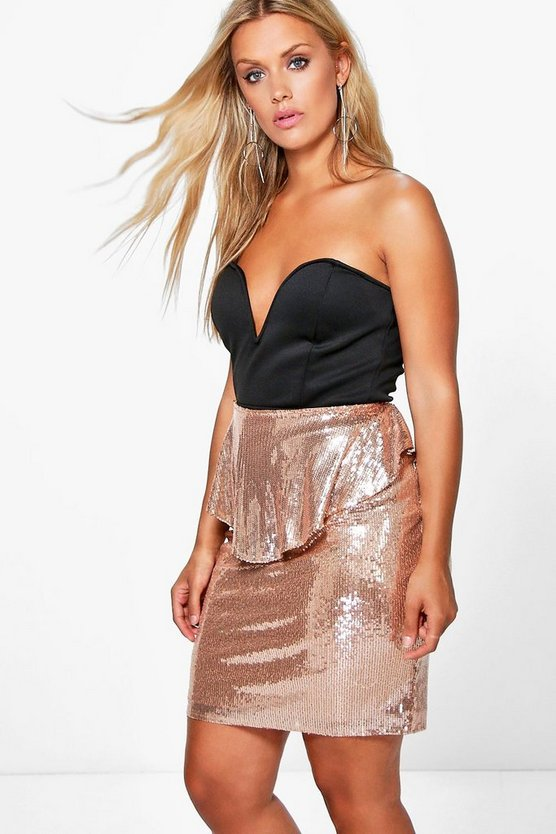Plus Alicia Sequin Peplum Skirt