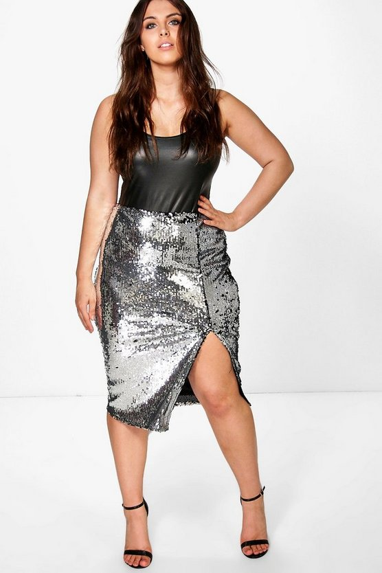 Plus Cate Sequin Split Front Midi Skirt