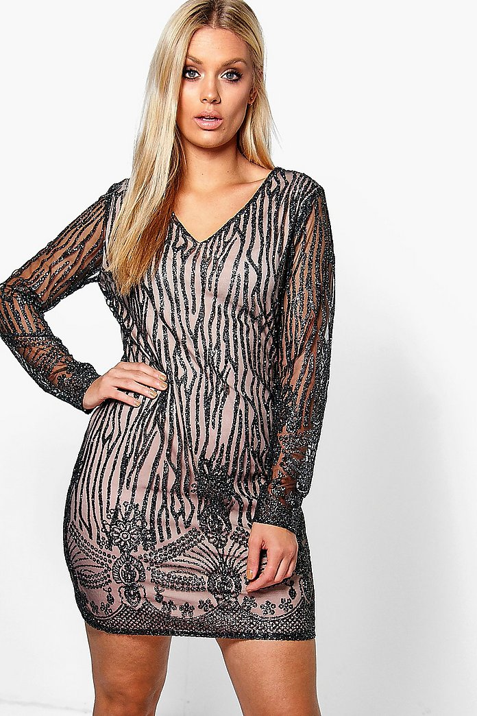 Plus Hana Embellished Plunge Neck Bodycon Dress