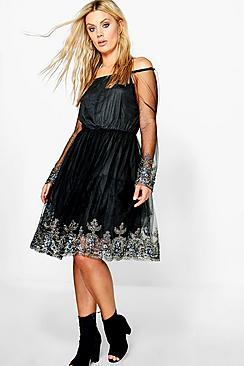 Plus Emma Off The Shoulder Skater Dress