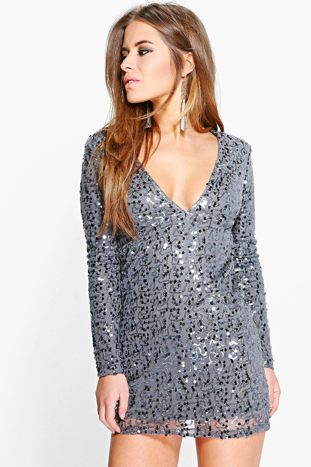 Petite Violet Deep Plunge Sequin Bodycon Dress