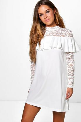 Petite Katie Lace Yoke Frill Detail Shift Dress