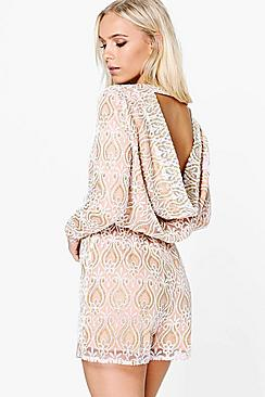 Petite Keely Sequin Cowl Back Playsuit