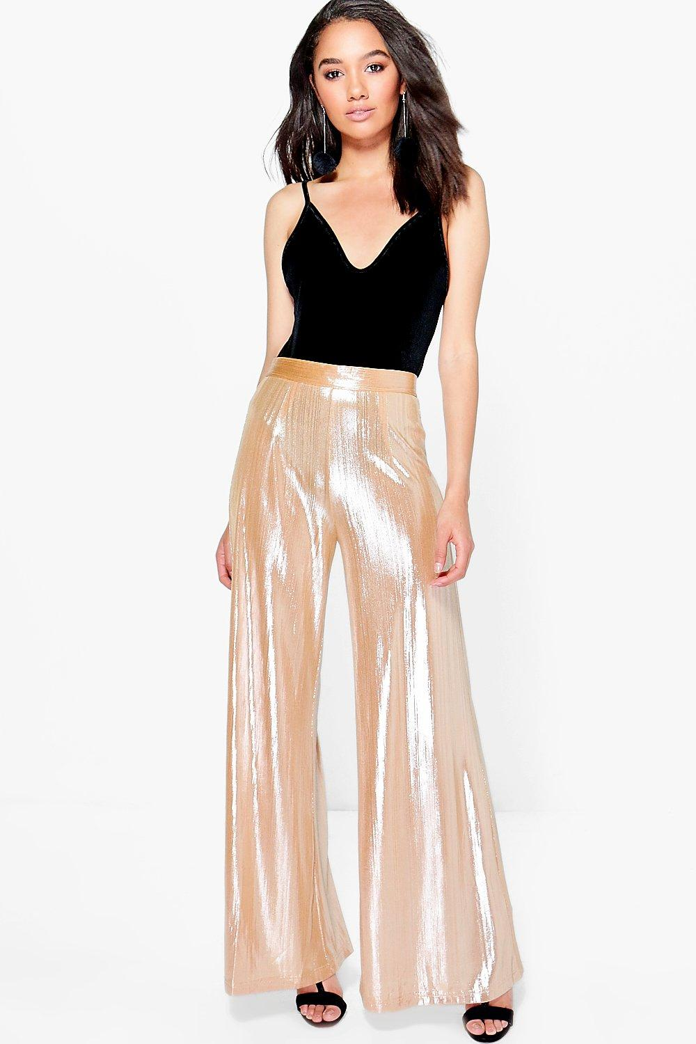 Petite Leona Pleated Shimmer Wide Leg Trouser