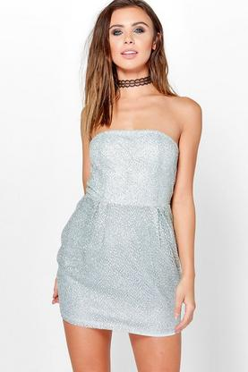 Petite Penelope Bandeau Sequin Bodycon Dress