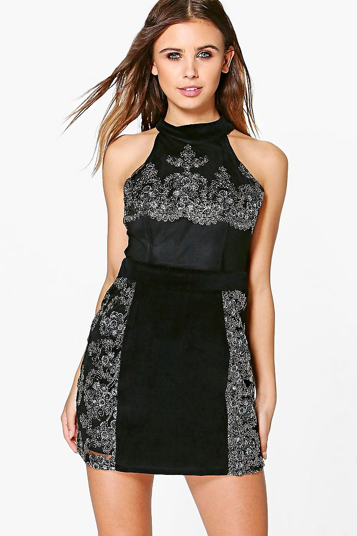 Petite Roxy Velvet Embroidered Bodycon Dress