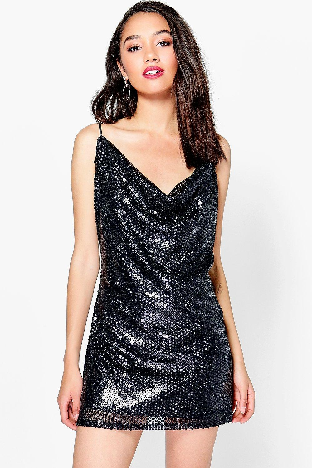 Petite Bianca Sequin Cowl Front Strappy Slip Dress