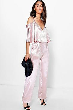 Petite Ruby Open Shoulder Satin Jumpsuit