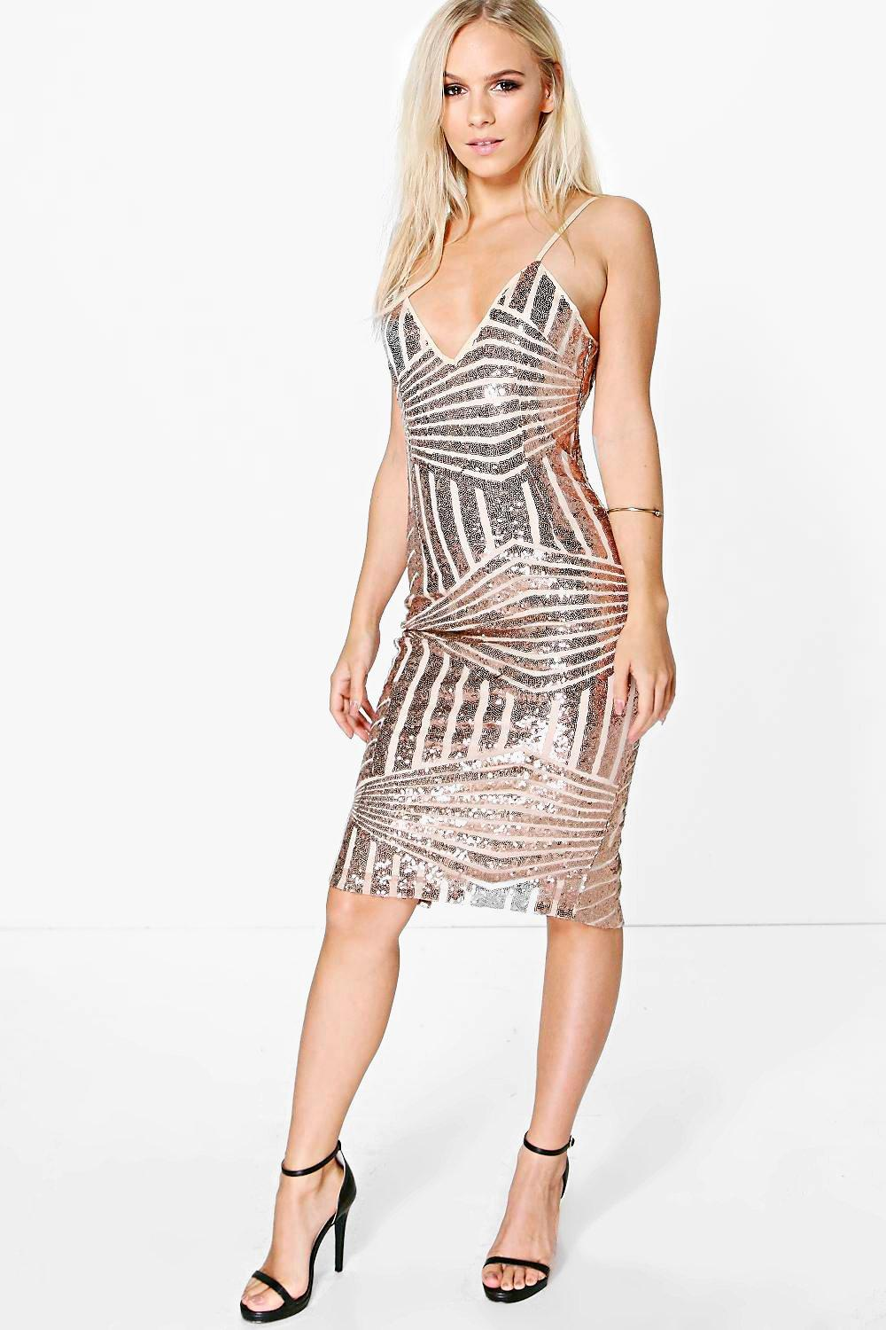 Petite Sofia Sequin Panelled Strappy Midi Dress