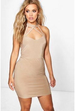 Plus Jen Highneck Strappy Bodycon Dress