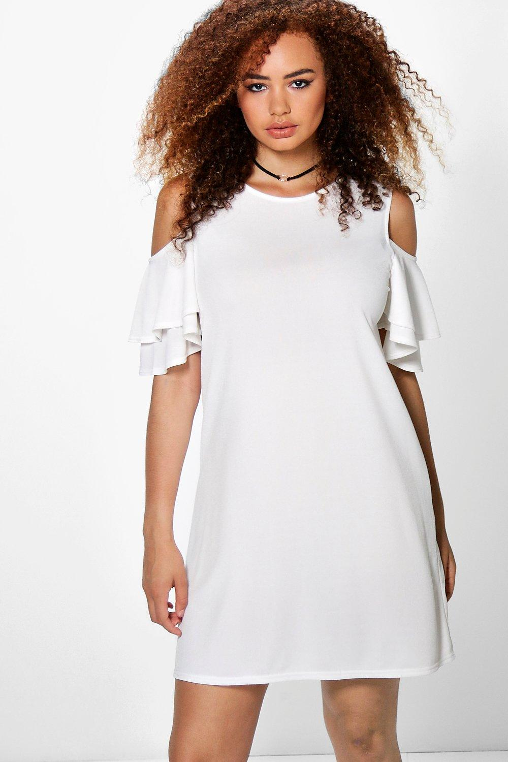 Plus Annie Frill Cold Shoulder Swing Dress